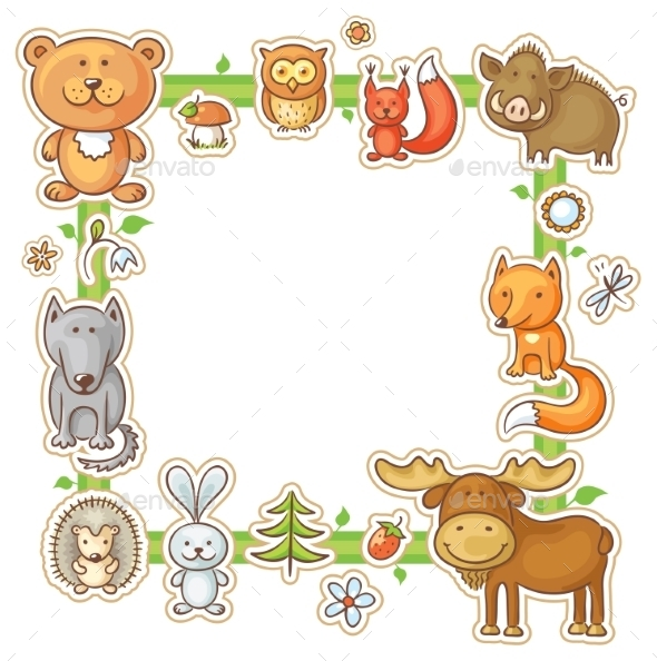 Square Frame with Forest Animals - Borders Decorative