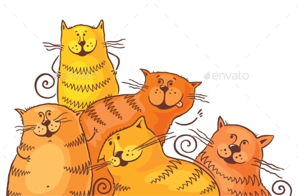 Five Fat Cartoon Cats - Animals Characters