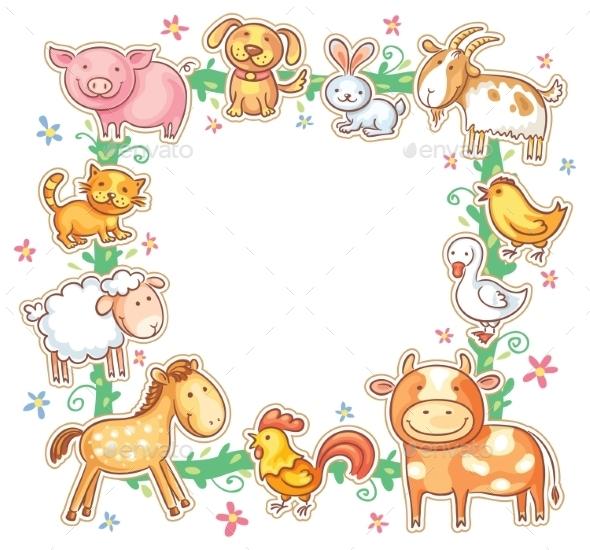 Square Frame with Cartoon Farm Animals by katya_dav | GraphicRiver