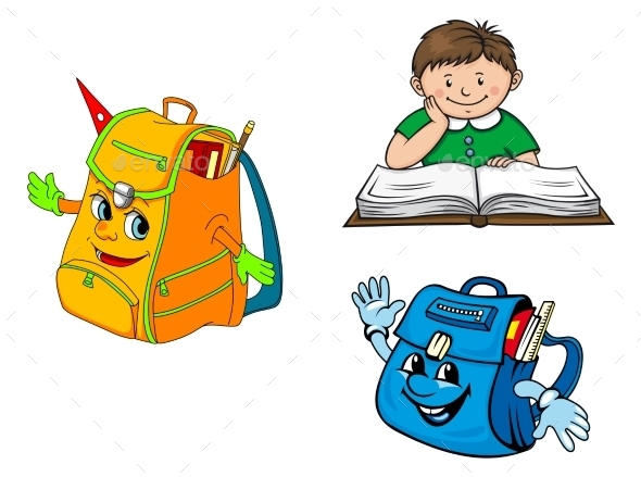 Set of Colorful School Education Icons - Miscellaneous Characters