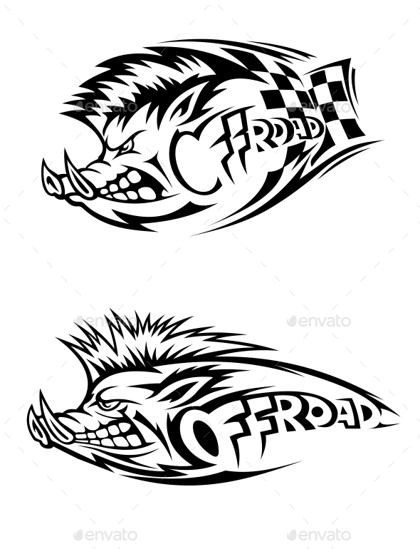 Snarling Wild Boar Off Road Icons - Animals Characters