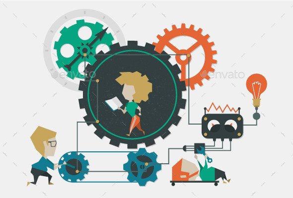 Illustration Cogwheel - Services Commercial / Shopping