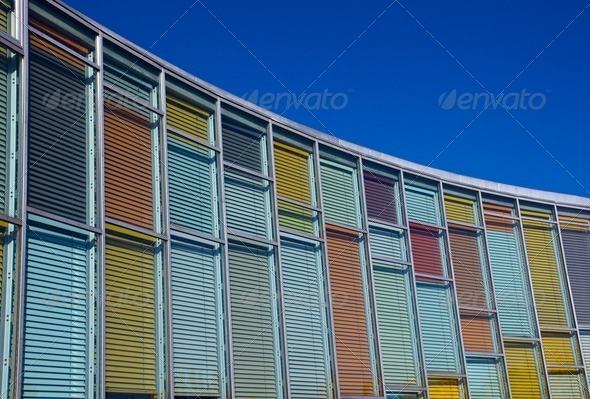 Colourful glass facade - Stock Photo - Images