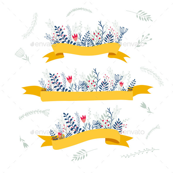 Decorative Floral Composition With Ribbon for Text - Decorative Vectors