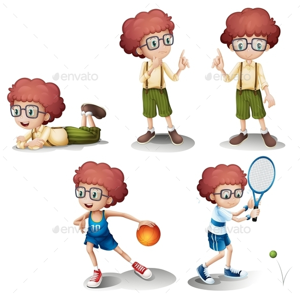 Five Different Activities of a Young Boy - People Characters