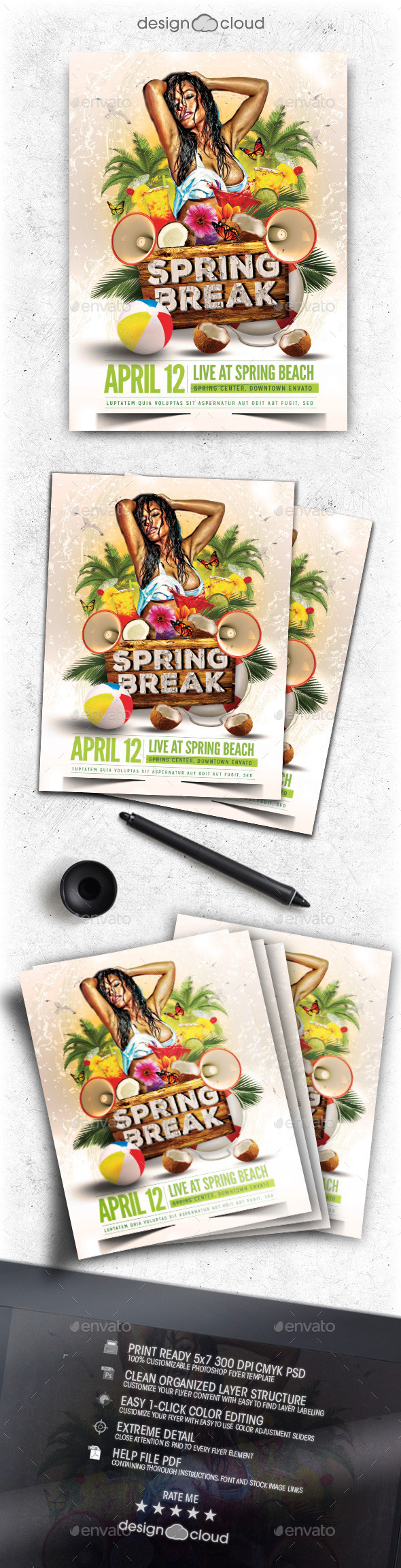 Spring Break Flyer Template Vol. 1 - Clubs & Parties Events