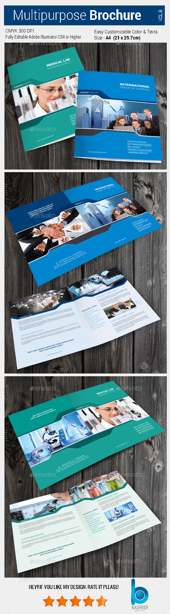 Multipurpose Bi-fold Brochure Vol-8 - Brochures Print Templates