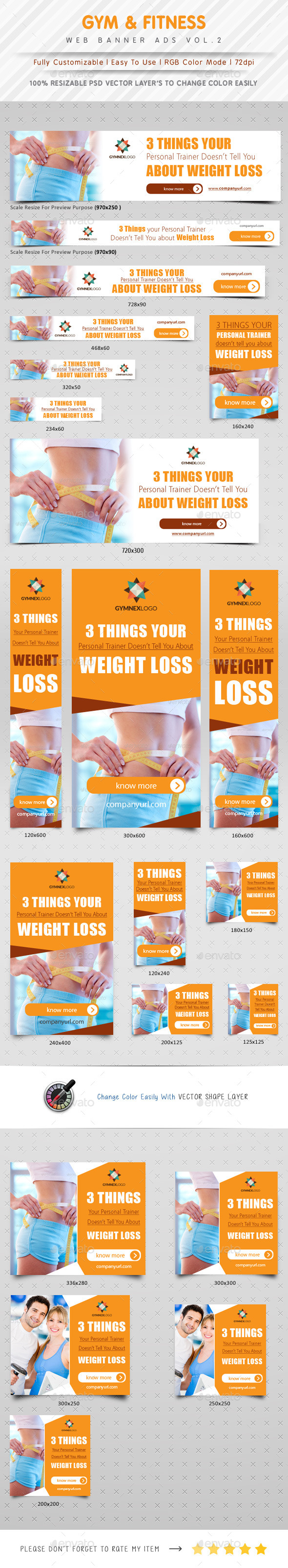 Gym & Fitness Web Banner Ads Vol. 2 - Banners & Ads Web Elements
