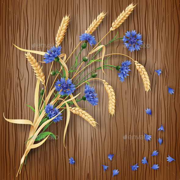 Cornflowers and Wheat Ears on Wood Background - Flowers & Plants Nature