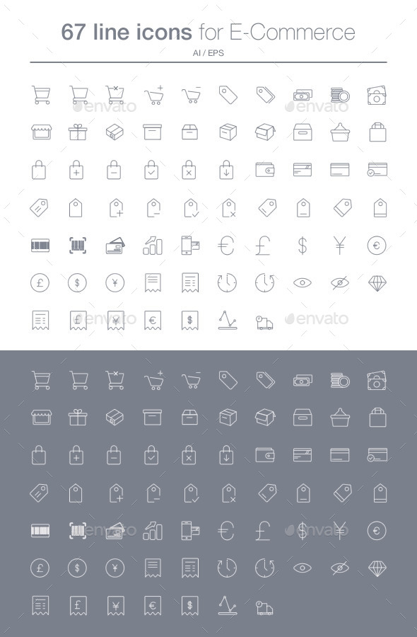 E-commerce line icons set - Web Icons