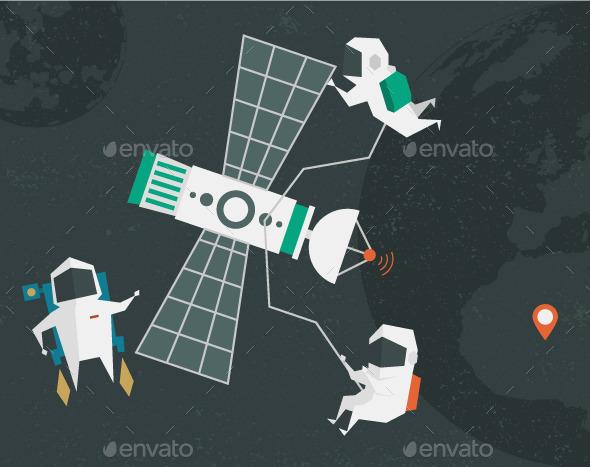 Astronauts Illustration - Travel Conceptual