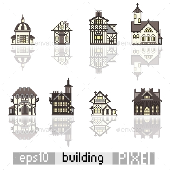Set of Pixel Art Buildings - Buildings Objects