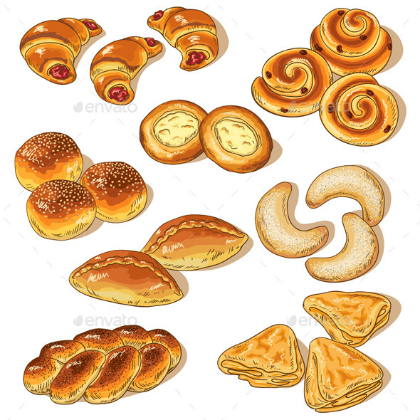 Variety of Bakery - Food Objects