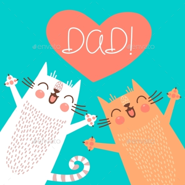 Fathers Day Card with Cats - Miscellaneous Seasons/Holidays