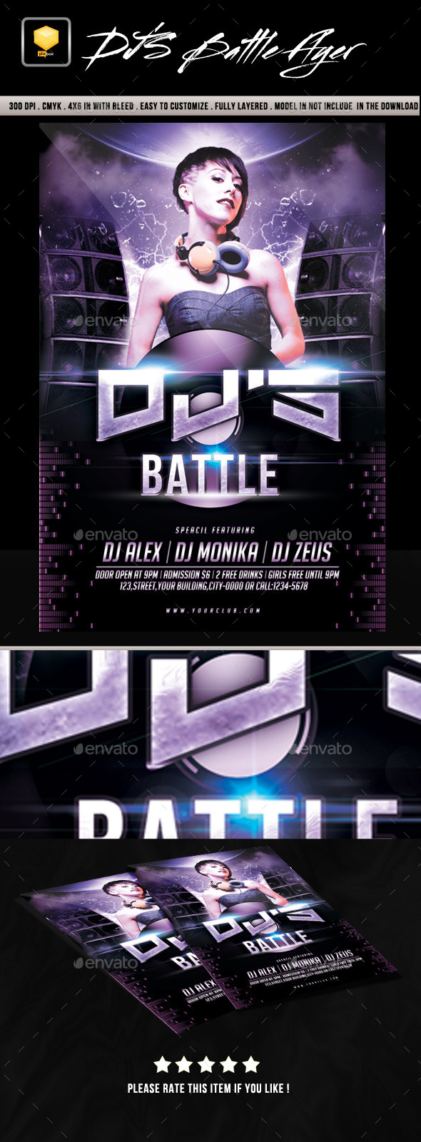 DJ's Battle Flyer - Clubs & Parties Events