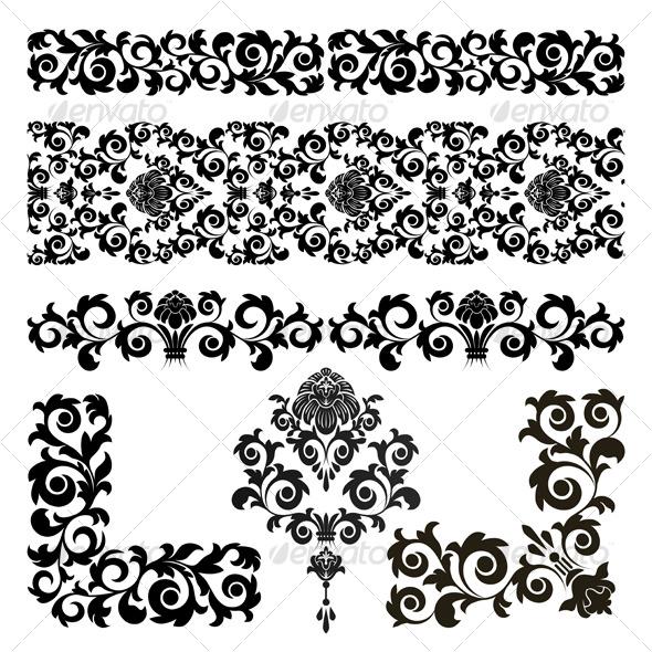 Set of floral design elements  - Characters Vectors