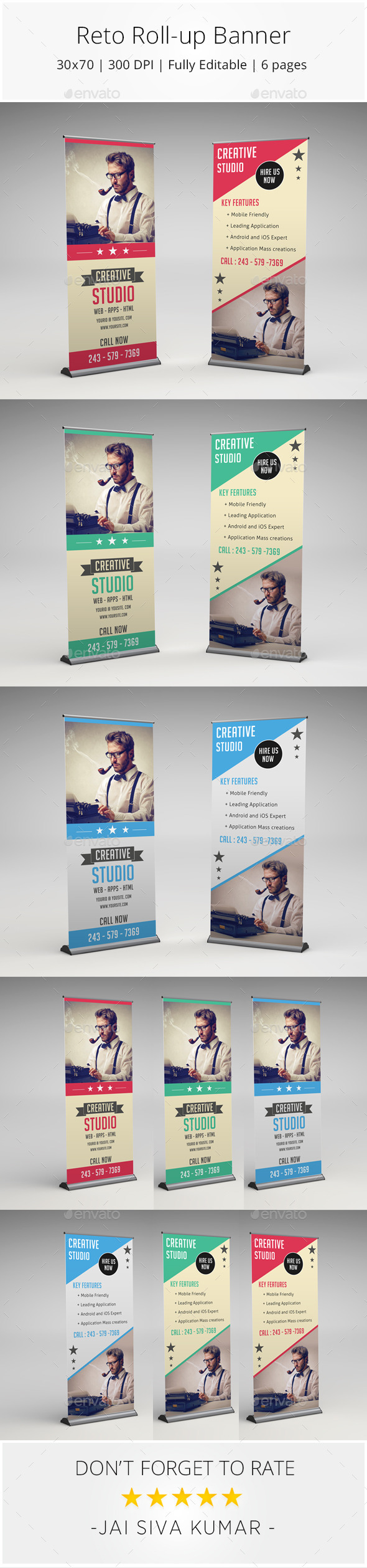 Retro Rollup Banner - Signage Print Templates