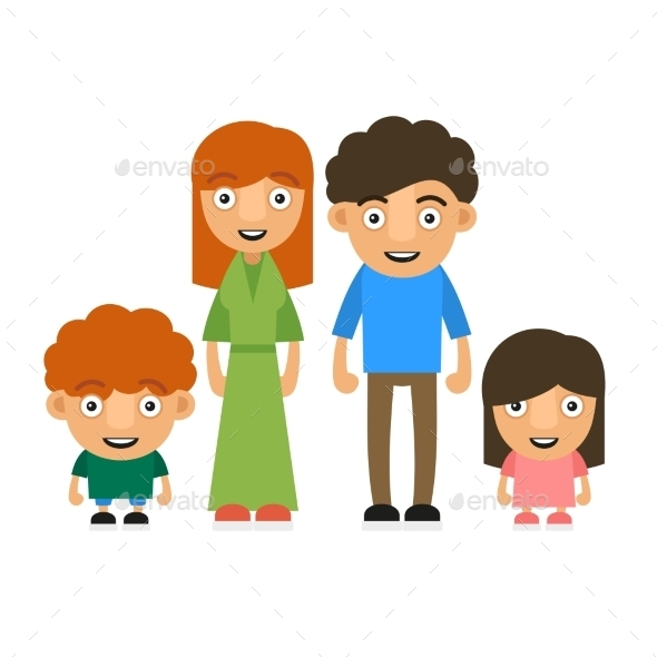 Family Illustration with Two Children - People Characters