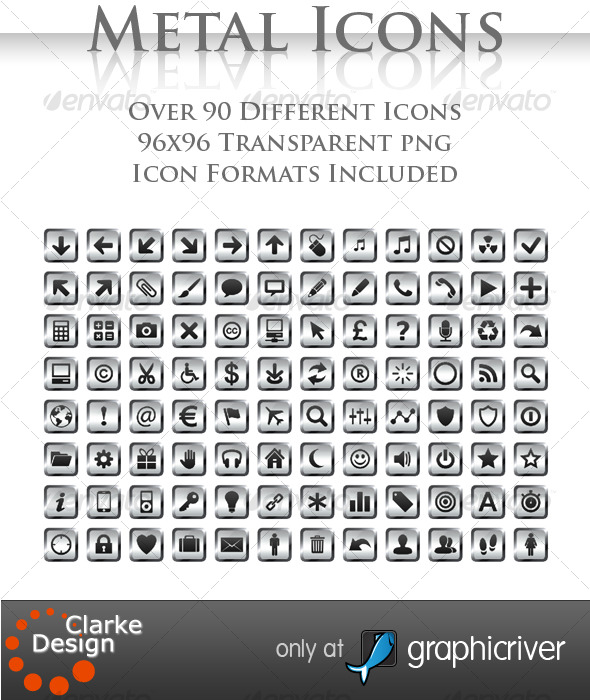 A collection of 97 Metal Icons - Web Icons
