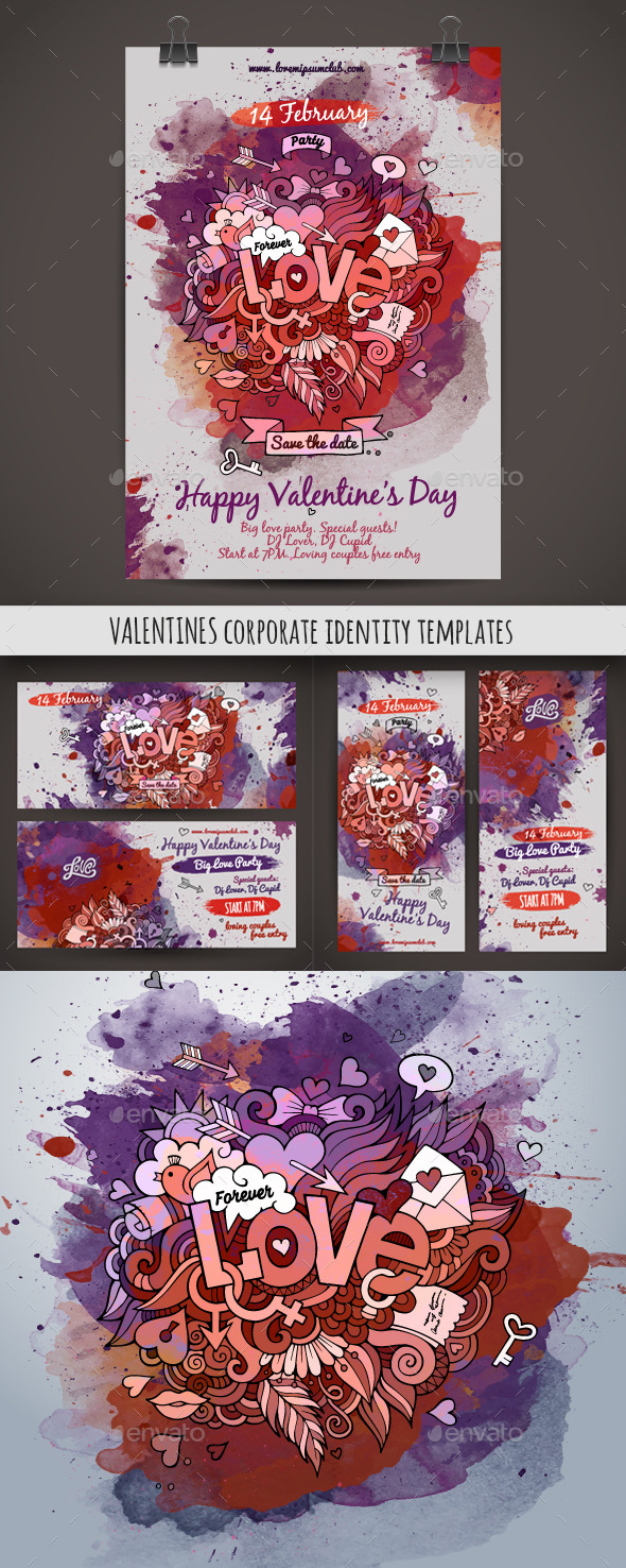 Love Doodles Corporate Identity Templates - Valentines Seasons/Holidays