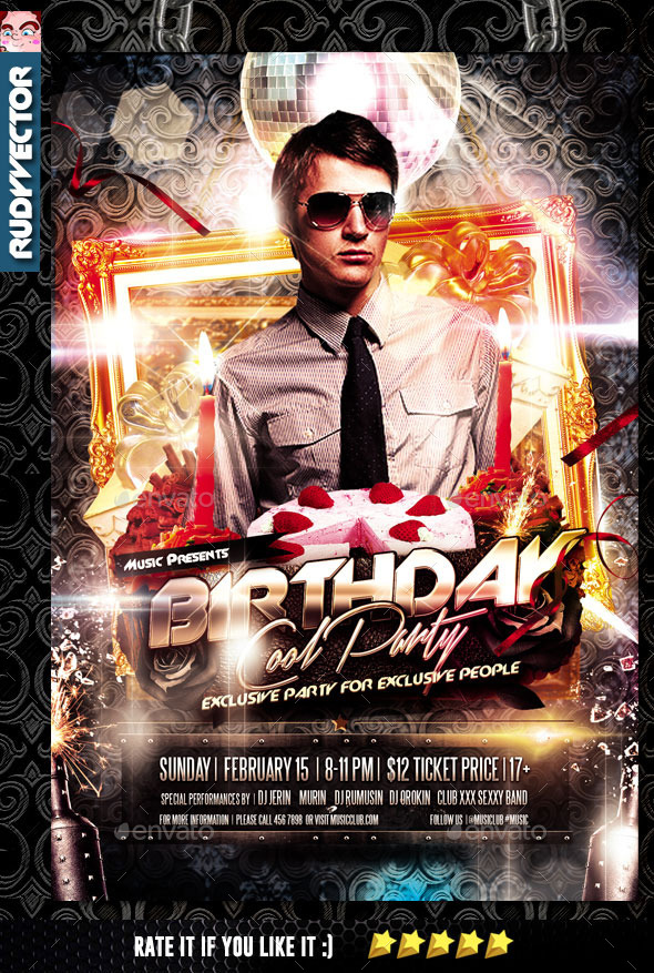 exclusive birthday party flyer template by rudyvector graphicriver