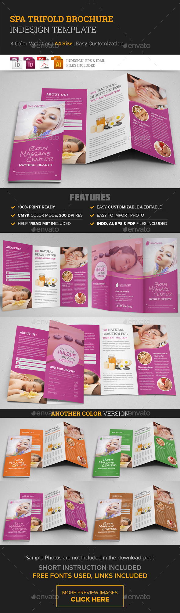 Spa & Beauty Salon Trifold Brochure Template - Corporate Brochures