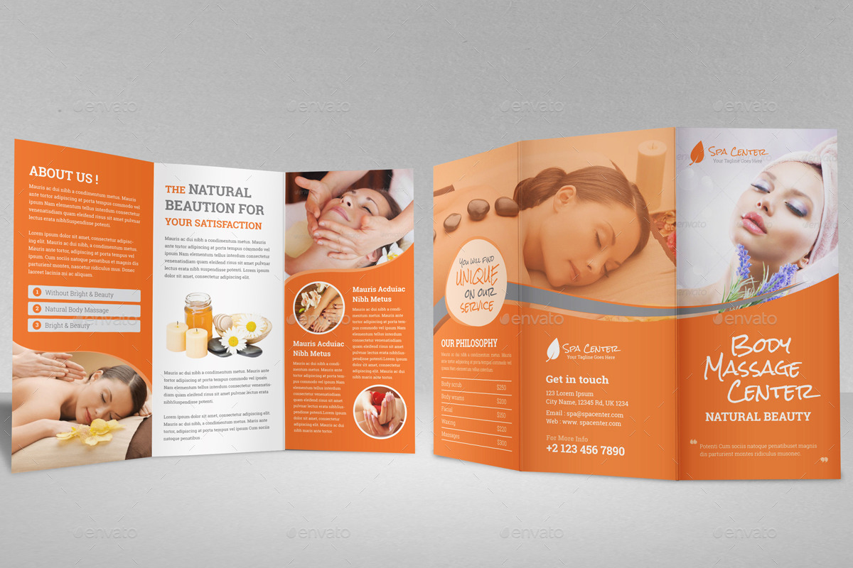 beauty brochure templates free - spa beauty salon trifold brochure template by