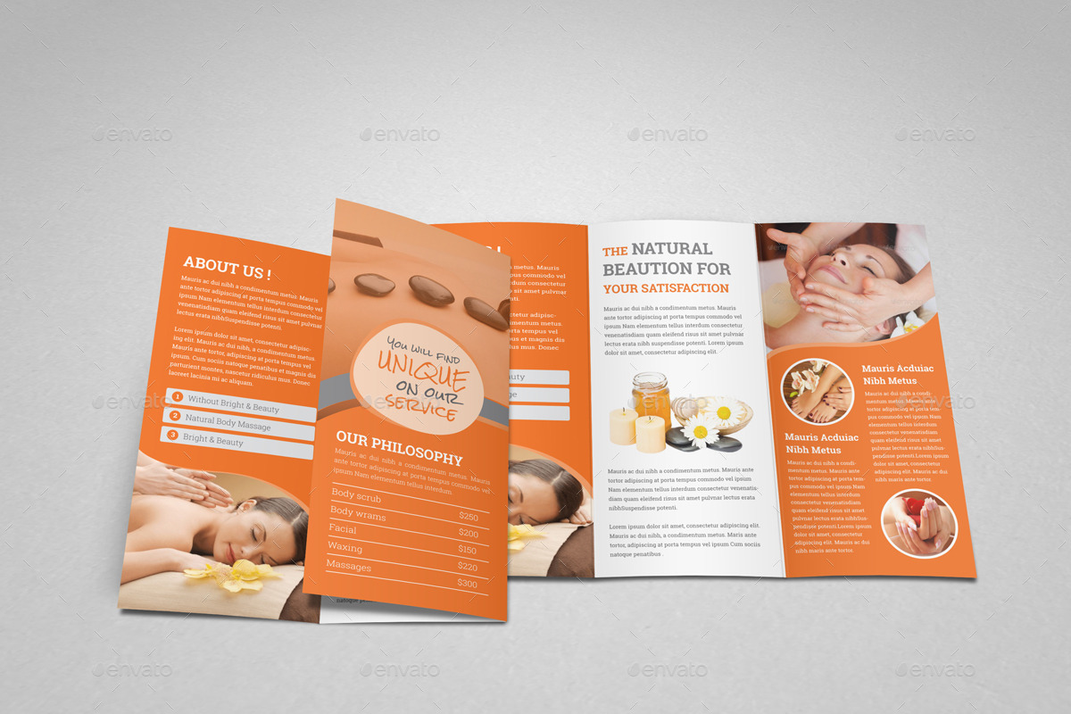 Spa Beauty Salon Trifold Brochure Template By JanySultana - Spa brochure templates