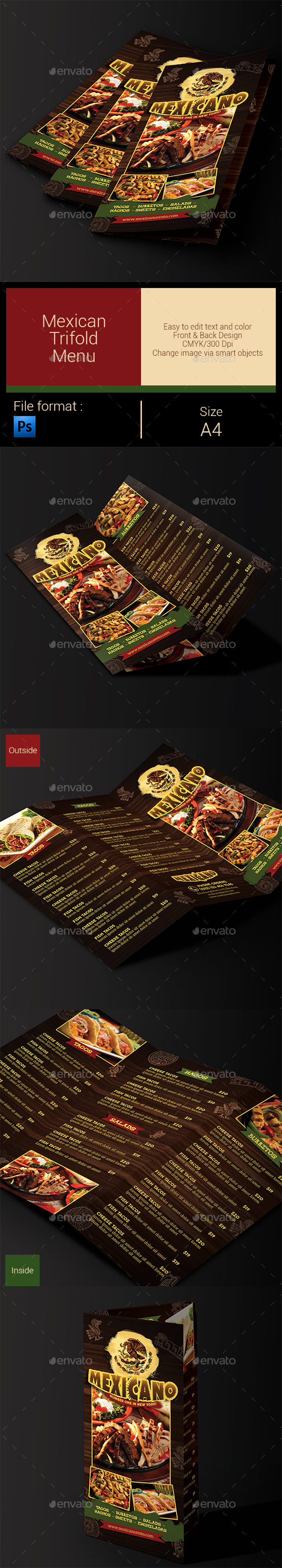 Mexican Menu Trifold - Food Menus Print Templates