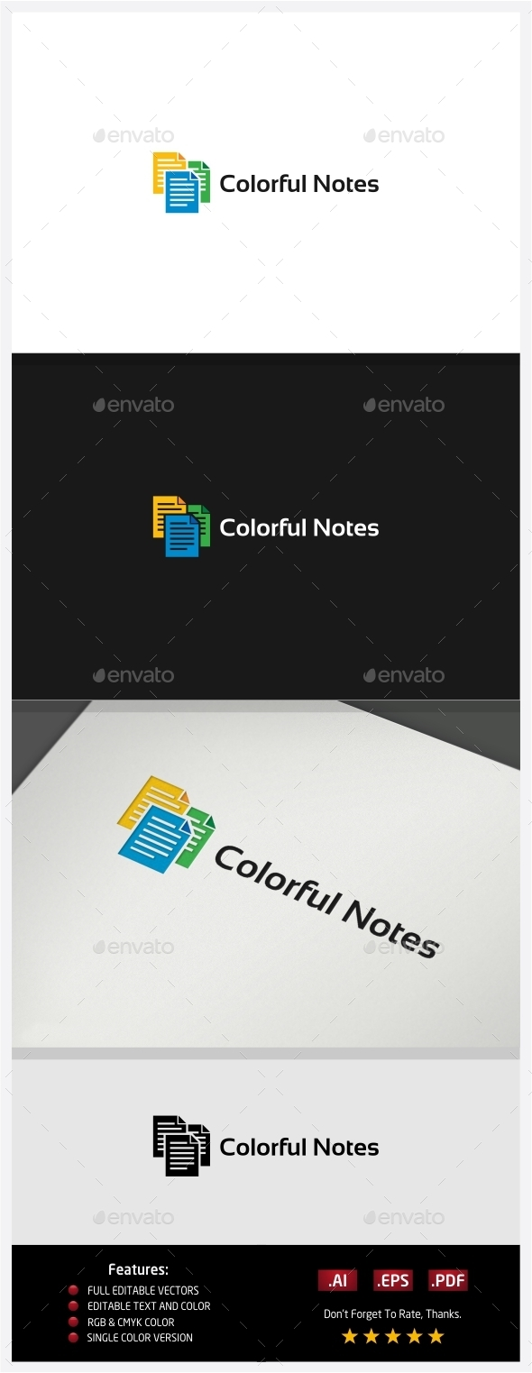 Colorful Notes - Symbols Logo Templates