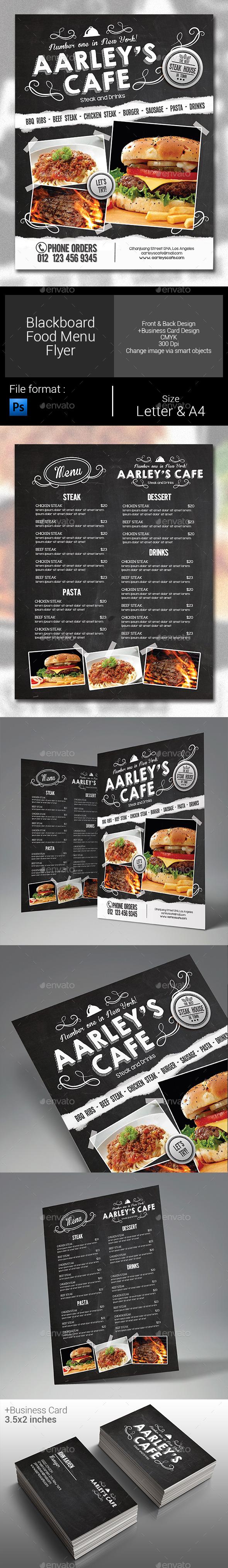 Blackboard Menu Flyer  - Food Menus Print Templates