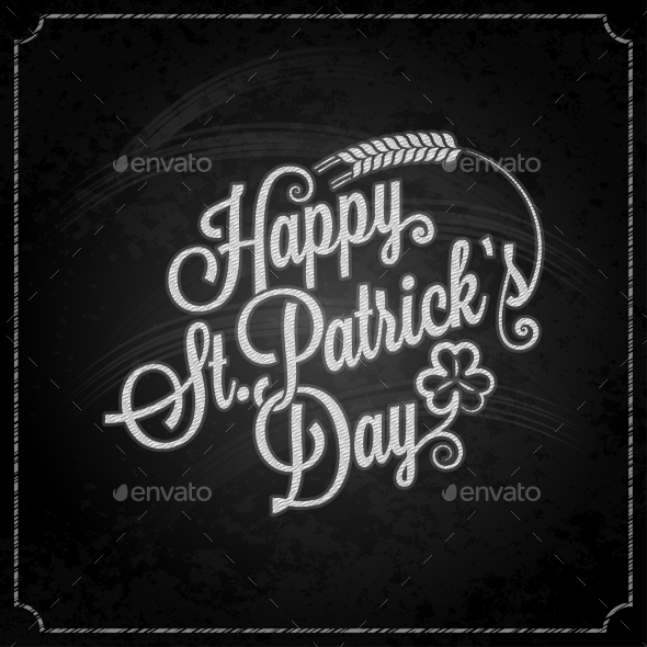 Patrick Day Vintage Chalk Background - Miscellaneous Seasons/Holidays