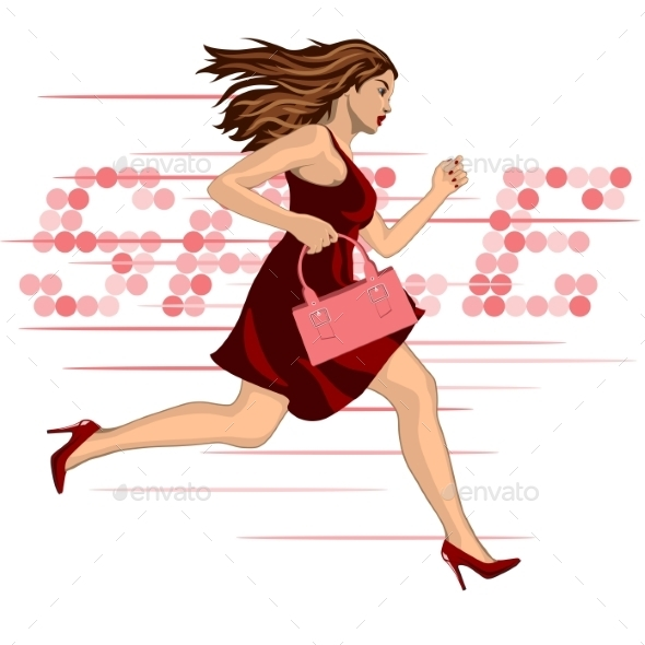 Woman Running to a Sale - People Characters