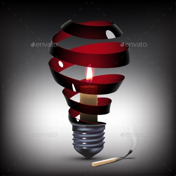 Light Bulb with Candle - Technology Conceptual
