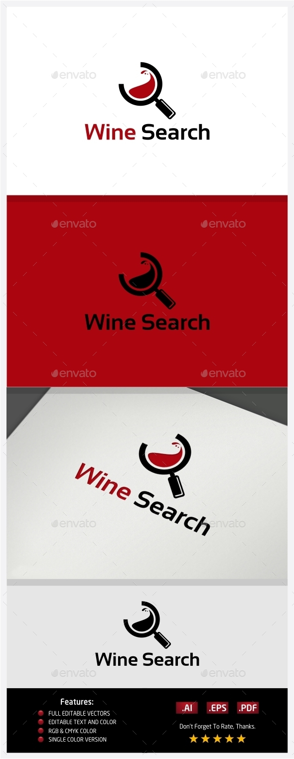 Wine Search Logo - Objects Logo Templates
