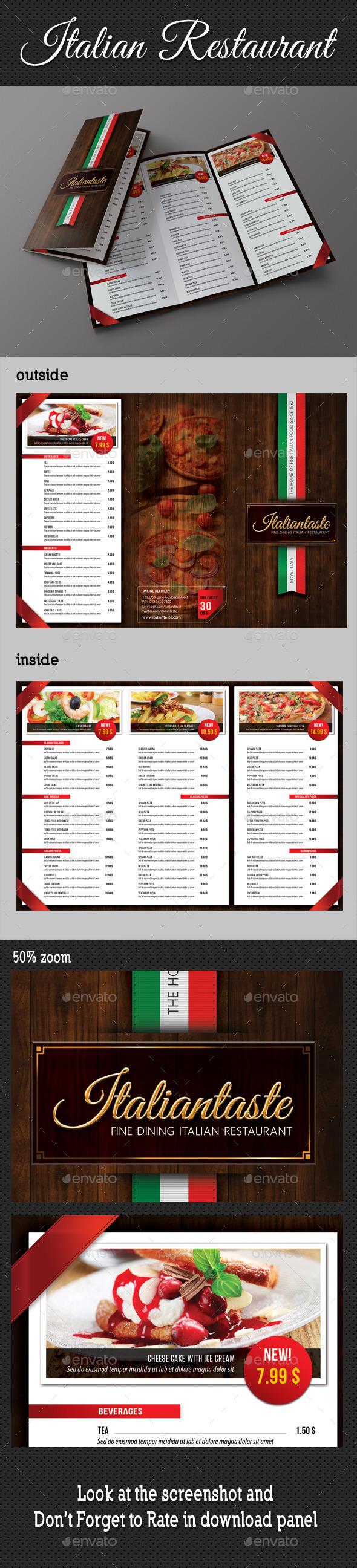 Italian Restaurant 3-Fold Brochure - Brochures Print Templates