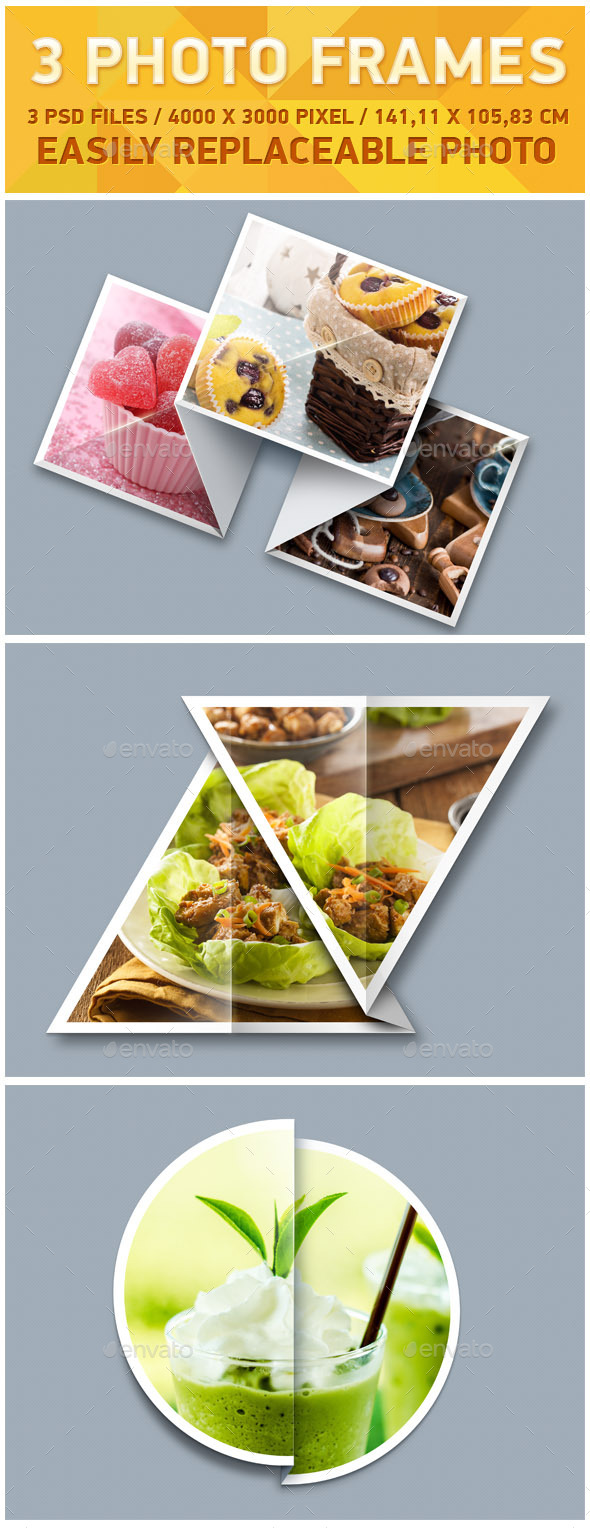 3 Photo Frames - Photo Templates Graphics