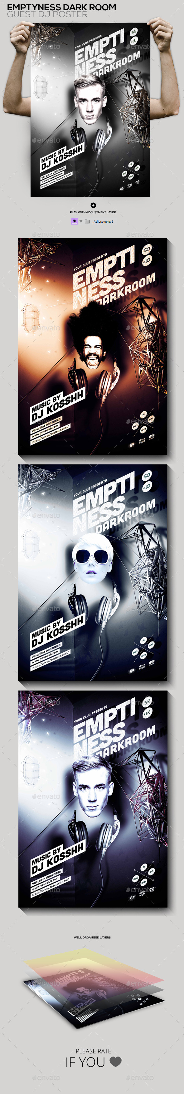 Emptiness Darkroom Guest Dj Party Flyer/Poster - Clubs & Parties Events