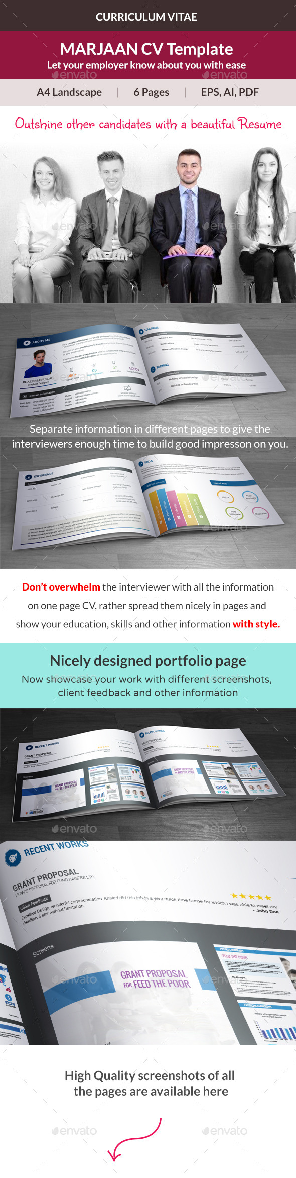 Marjaan CV Resume Template - Resumes Stationery