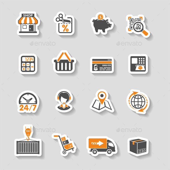 Internet Shopping and Delivery Sticker Icon Set - Retail Commercial / Shopping