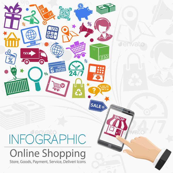 Internet Shopping Infographic - Retail Commercial / Shopping
