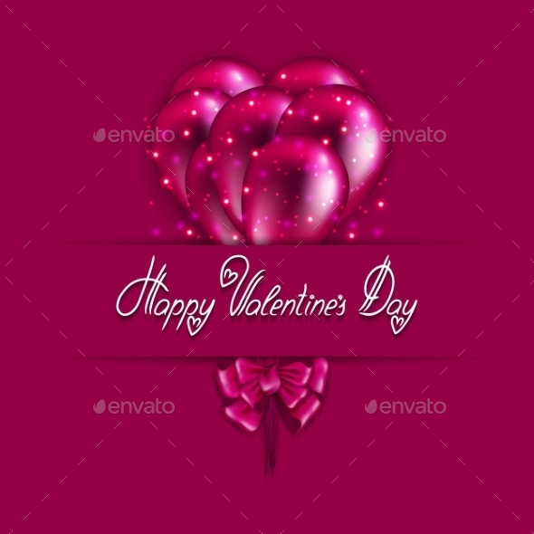 Festive Background with Flying Balloons - Valentines Seasons/Holidays