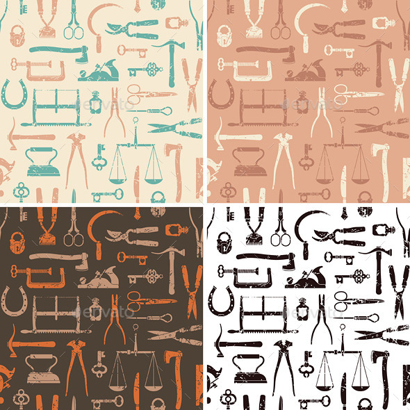 Vintage Tools and Instruments Seamless Pattern - Patterns Decorative