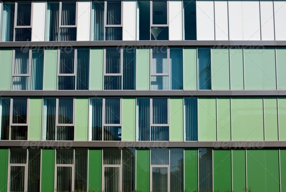 Modern facade in different shades of green - Stock Photo - Images