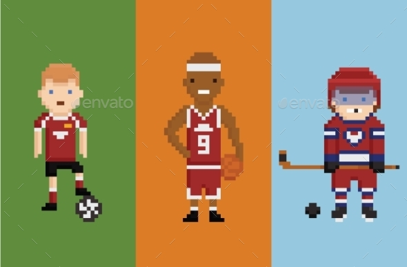 Pixel Art Style Sportsman - Sports/Activity Conceptual