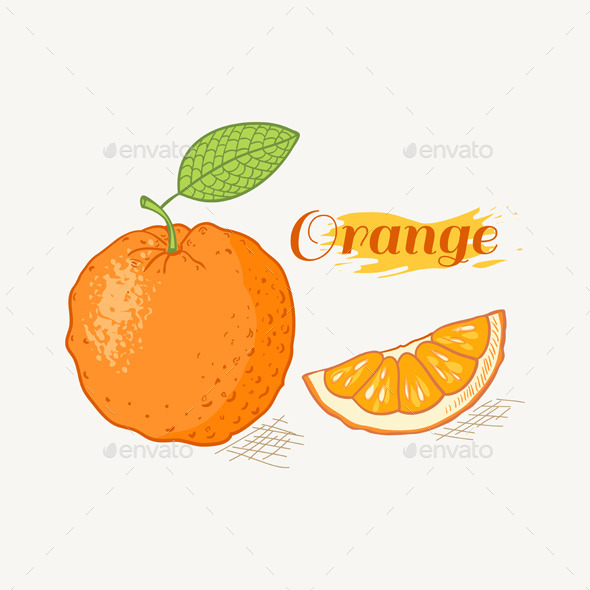 Orange with Leaf - Food Objects