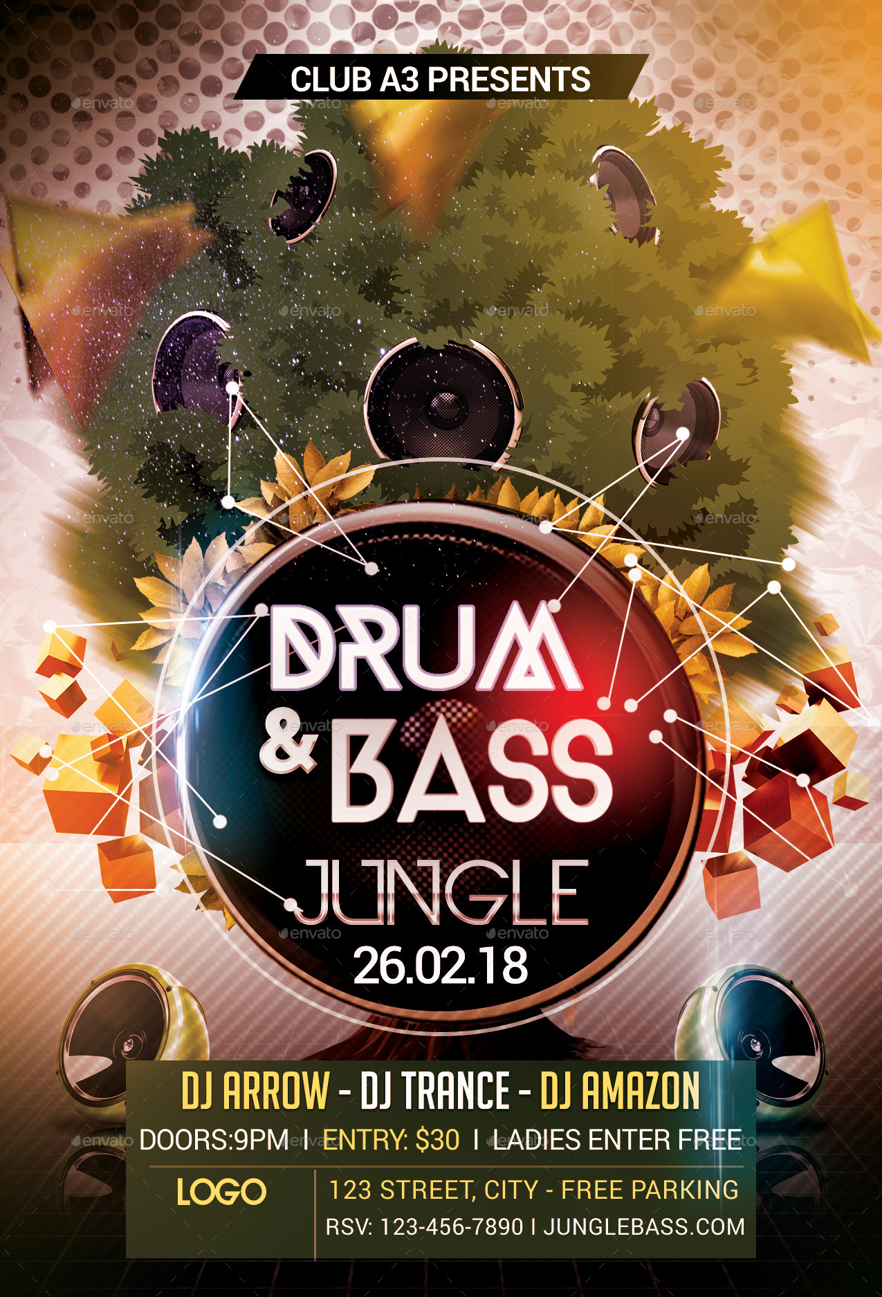 drum and bass jungle flyer template by arrow3000