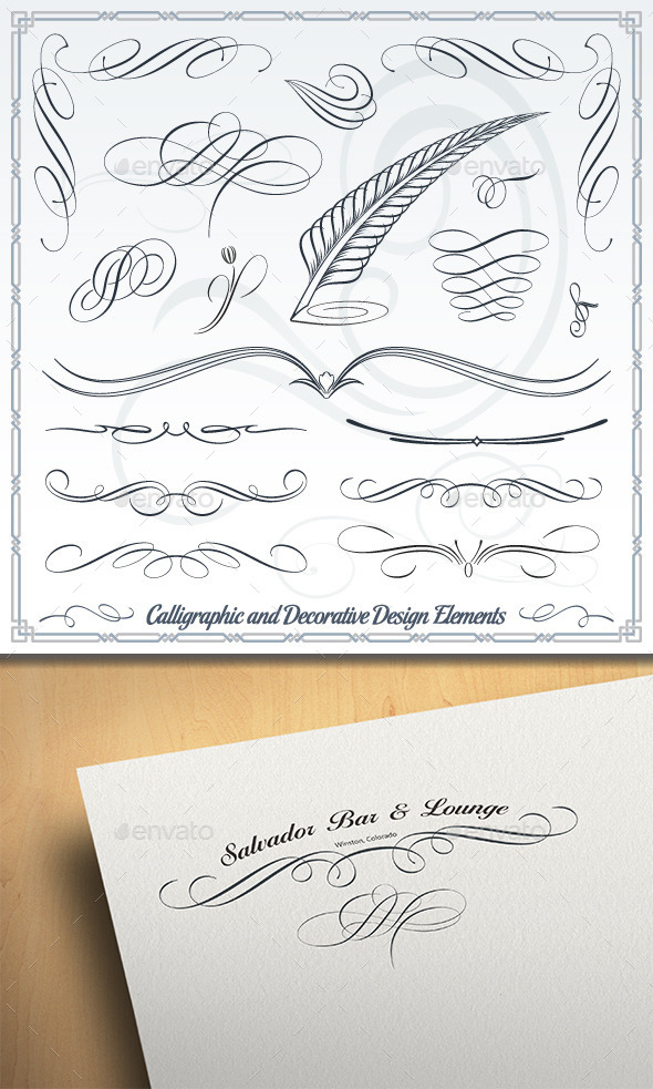 Calligraphic and Decorative Design Elements  - Flourishes / Swirls Decorative