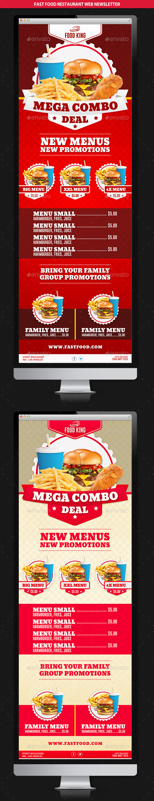 Restaurant Fast Food Web Newsletter - E-newsletters Web Elements