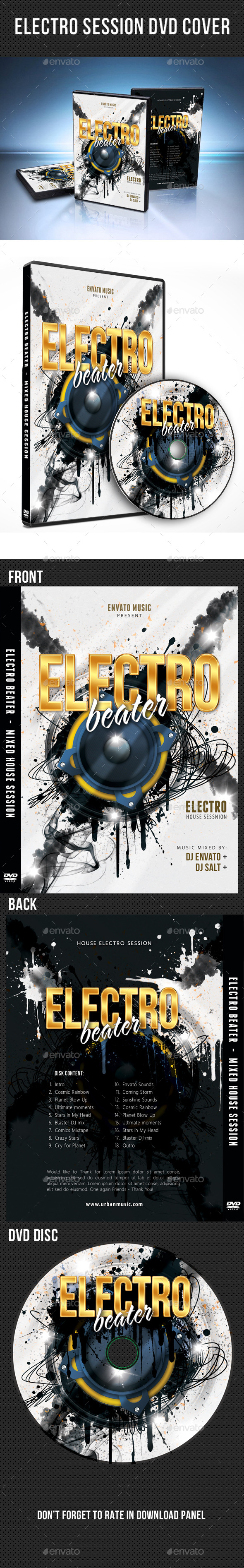 Electro Session DVD Cover Template V02 - CD & DVD Artwork Print Templates